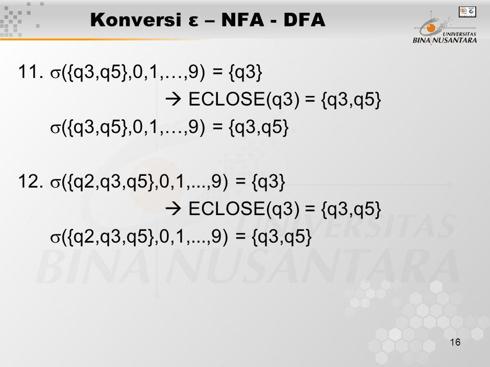 16 Konversi ε – NFA - DFA 11.  ({q3,q5},0,1,…,9) = {q3}  ECLOSE(q3) = {q3,q5}  ({q3,q5},0,1,…,9) = {q3,q5} 12.  ({q2,q3,q5},0,1,...,9) = {q3}  EC