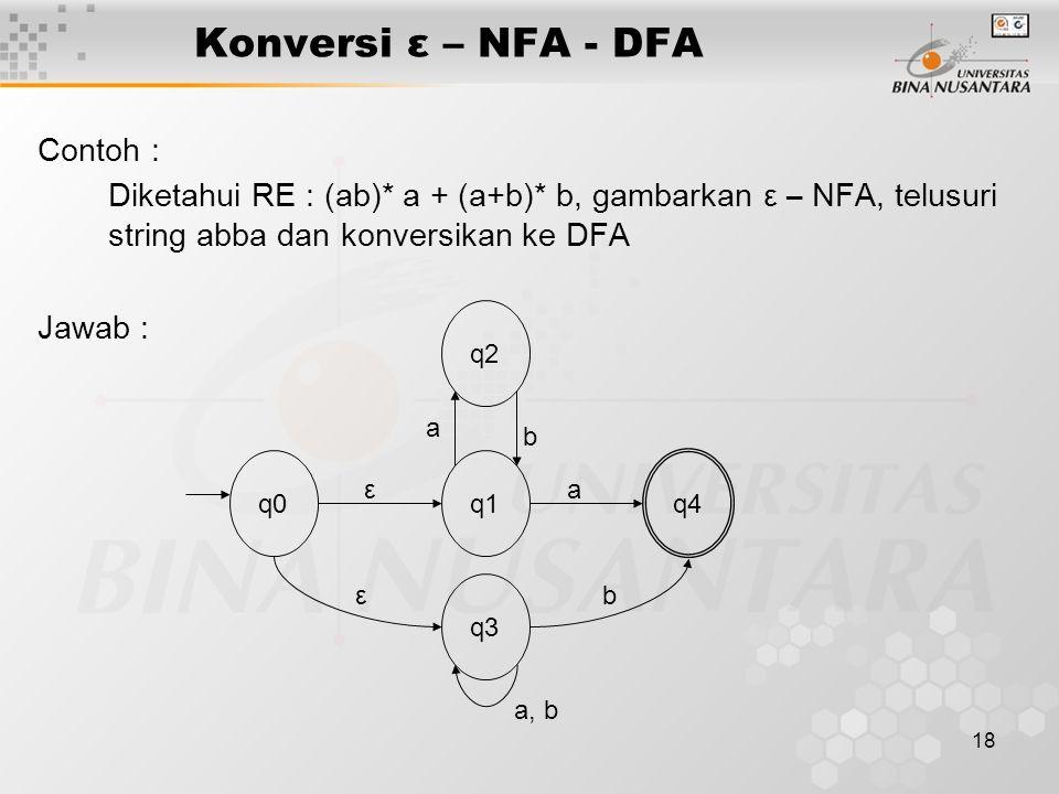 18 Konversi ε – NFA - DFA Contoh : Diketahui RE : (ab)* a + (a+b)* b, gambarkan ε – NFA, telusuri string abba dan konversikan ke DFA Jawab : a q1 q2 q