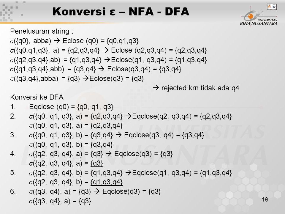 19 Konversi ε – NFA - DFA Penelusuran string :  ({q0}, abba)  Eclose (q0) = {q0,q1,q3}  ({q0,q1,q3}, a) = {q2,q3,q4}  Eclose (q2,q3,q4) = {q2,q3,q