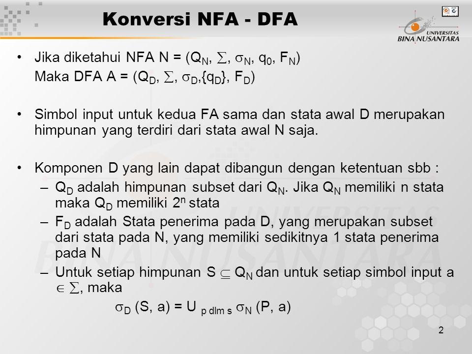 2 Konversi NFA - DFA Jika diketahui NFA N = (Q N, ,  N, q 0, F N ) Maka DFA A = (Q D, ,  D,{q D }, F D ) Simbol input untuk kedua FA sama dan stat