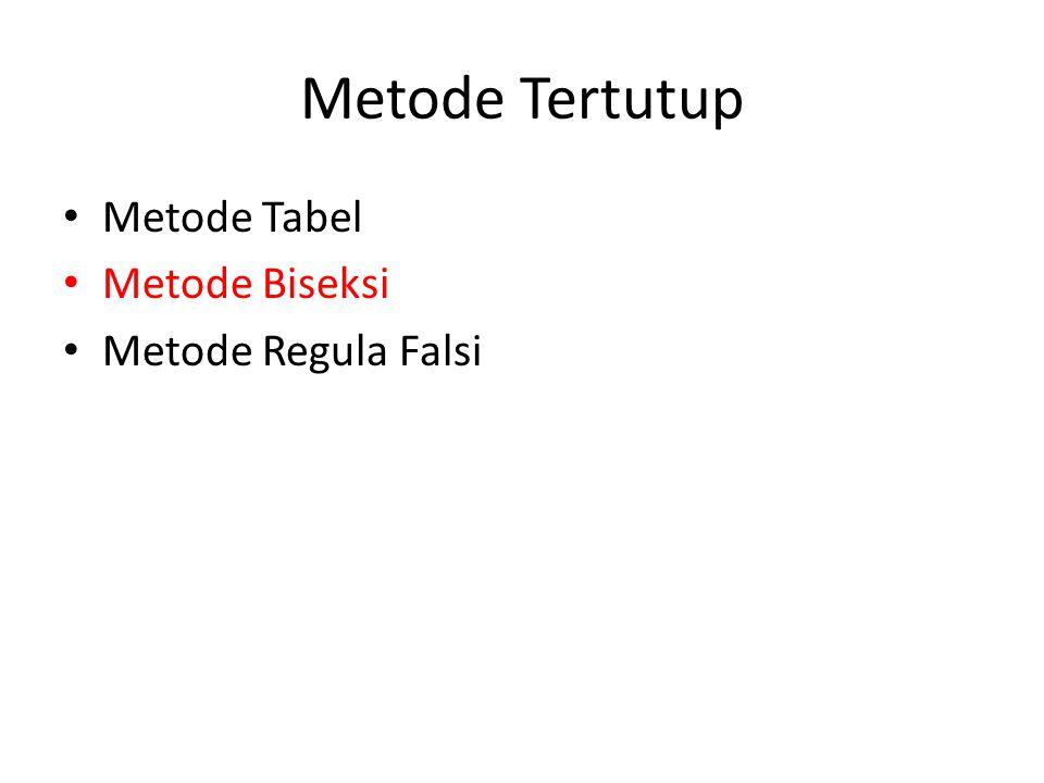 Metode Tertutup Metode Tabel Metode Biseksi Metode Regula Falsi