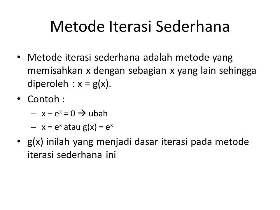 Metode Iterasi Sederhana Metode iterasi sederhana adalah metode yang memisahkan x dengan sebagian x yang lain sehingga diperoleh : x = g(x). Contoh :