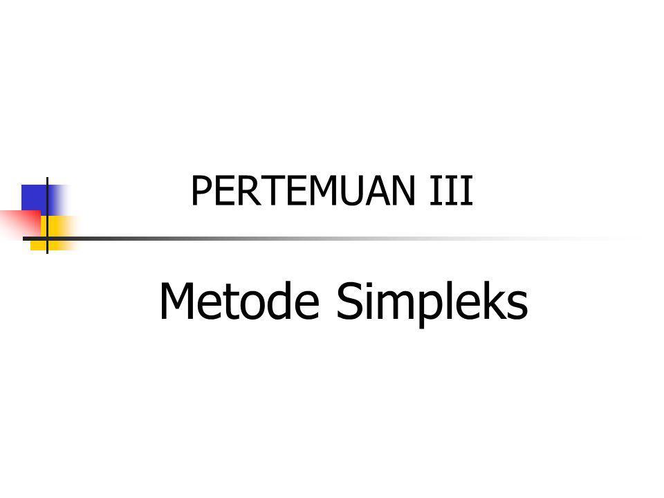 Definisi Metode Simpleks Prosedur aljabar yg bersifat iteratif, dimulai dari titik ekstrem yg feasible s/d titik ekstrem yg optimal.