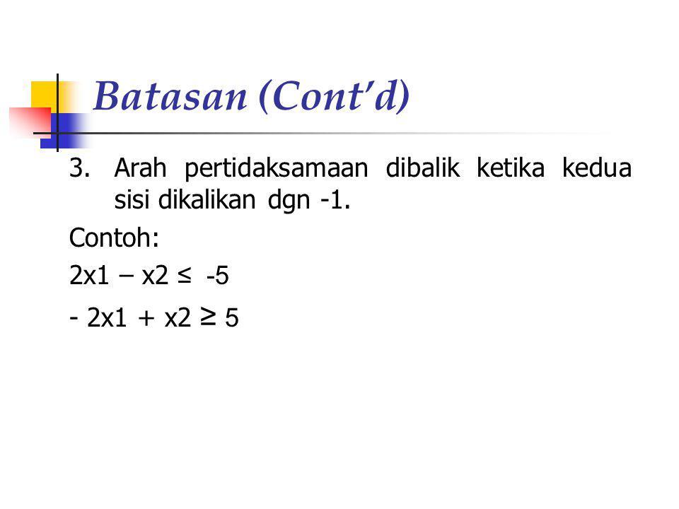 Batasan (Cont'd) 3.Arah pertidaksamaan dibalik ketika kedua sisi dikalikan dgn -1. Contoh: 2x1 – x2 ≤ -5 - 2x1 + x2 ≥ 5
