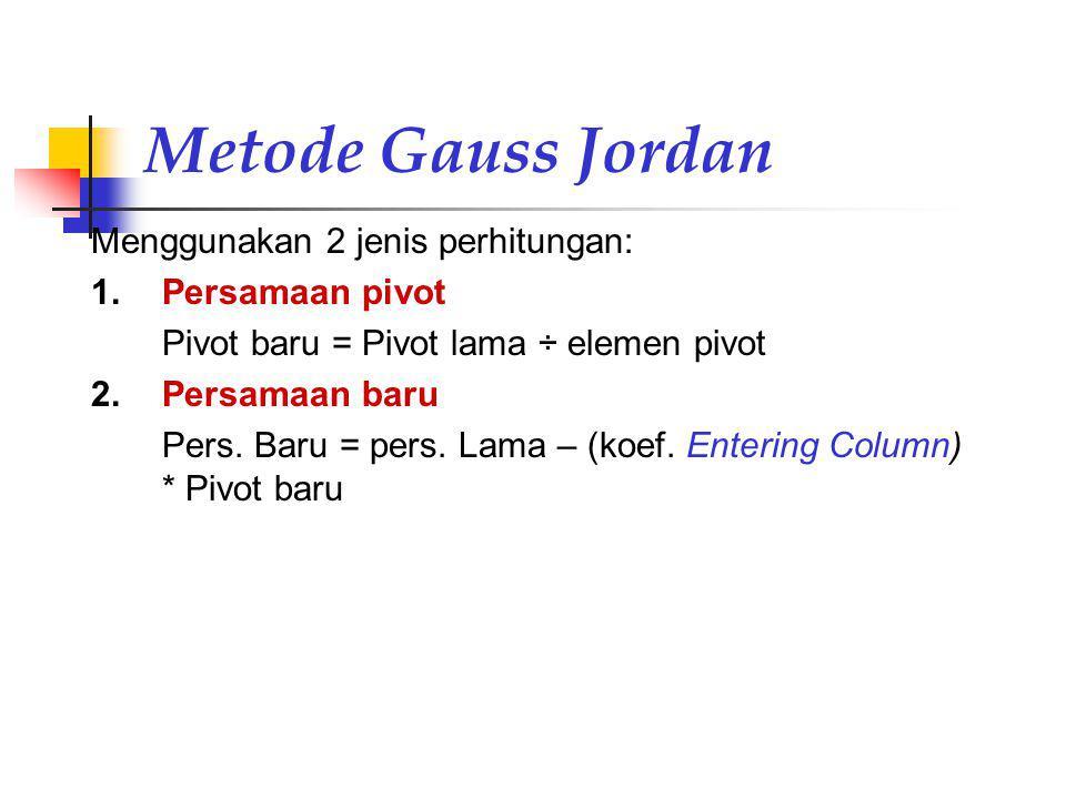 Metode Gauss Jordan Menggunakan 2 jenis perhitungan: 1.Persamaan pivot Pivot baru = Pivot lama ÷ elemen pivot 2.Persamaan baru Pers. Baru = pers. Lama