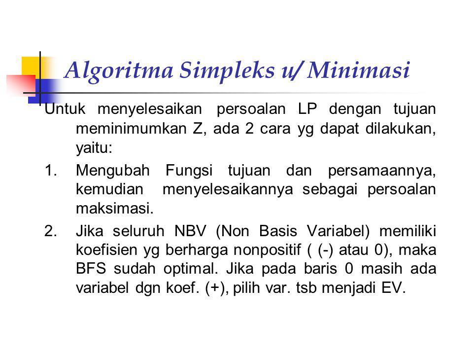 Algoritma Simpleks u/ Minimasi Untuk menyelesaikan persoalan LP dengan tujuan meminimumkan Z, ada 2 cara yg dapat dilakukan, yaitu: 1.Mengubah Fungsi
