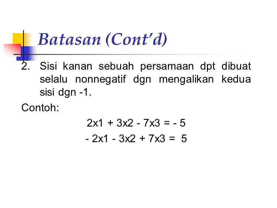 Batasan (Cont'd) 2.Sisi kanan sebuah persamaan dpt dibuat selalu nonnegatif dgn mengalikan kedua sisi dgn -1. Contoh: 2x1 + 3x2 - 7x3 = - 5 - 2x1 - 3x