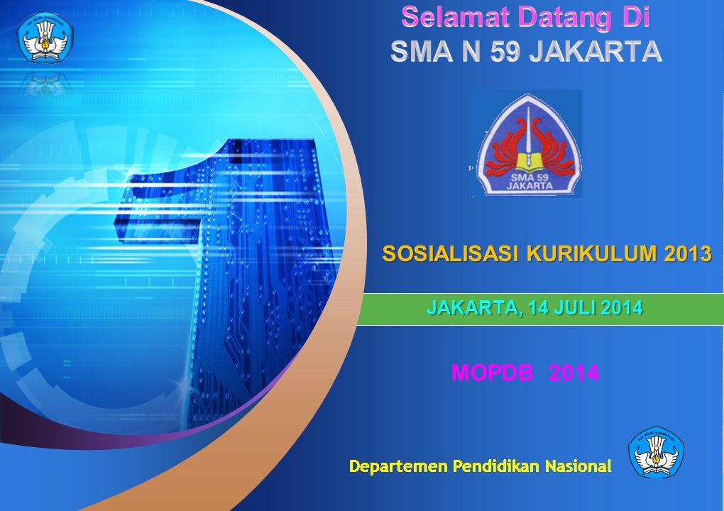 Departemen Pendidikan Nasional SOSIALISASI KURIKULUM 2013 JAKARTA, 14 JULI 2014 MOPDB 2014