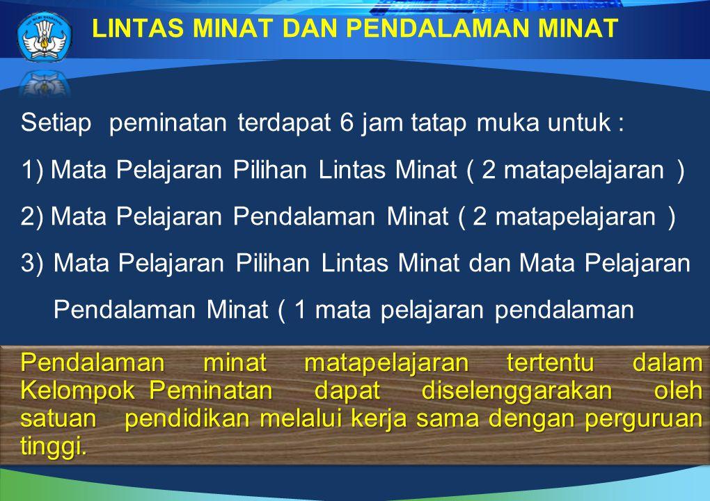 Setiap peminatan terdapat 6 jam tatap muka untuk : 1) Mata Pelajaran Pilihan Lintas Minat ( 2 matapelajaran ) 2) Mata Pelajaran Pendalaman Minat ( 2 m