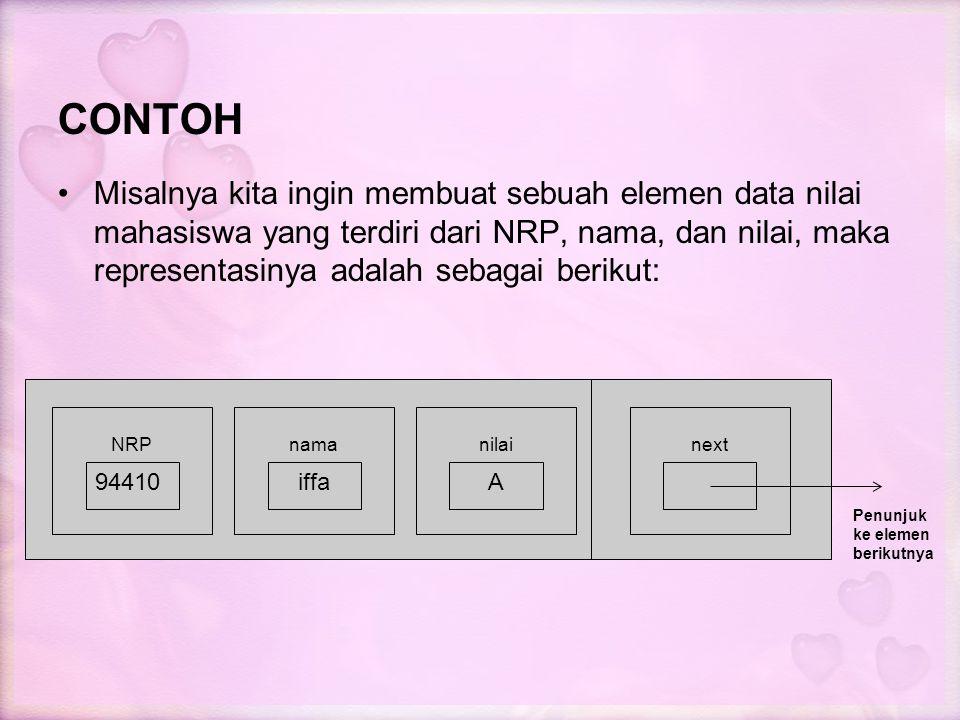 CONTOH Misalnya kita ingin membuat sebuah elemen data nilai mahasiswa yang terdiri dari NRP, nama, dan nilai, maka representasinya adalah sebagai beri