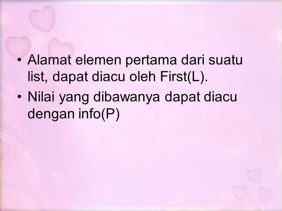 Alamat elemen pertama dari suatu list, dapat diacu oleh First(L). Nilai yang dibawanya dapat diacu dengan info(P)