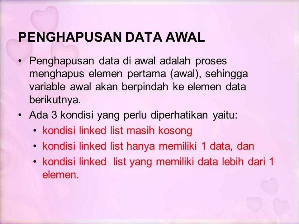 PENGHAPUSAN DATA AWAL Penghapusan data di awal adalah proses menghapus elemen pertama (awal), sehingga variable awal akan berpindah ke elemen data ber