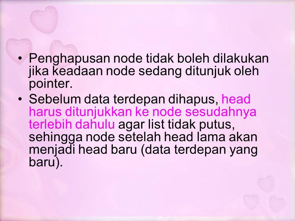Penghapusan node tidak boleh dilakukan jika keadaan node sedang ditunjuk oleh pointer. Sebelum data terdepan dihapus, head harus ditunjukkan ke node s