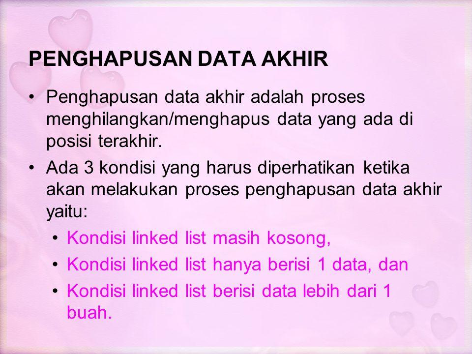PENGHAPUSAN DATA AKHIR Penghapusan data akhir adalah proses menghilangkan/menghapus data yang ada di posisi terakhir. Ada 3 kondisi yang harus diperha