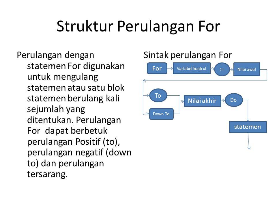 Struktur Perulangan For Perulangan dengan statemen For digunakan untuk mengulang statemen atau satu blok statemen berulang kali sejumlah yang ditentukan.