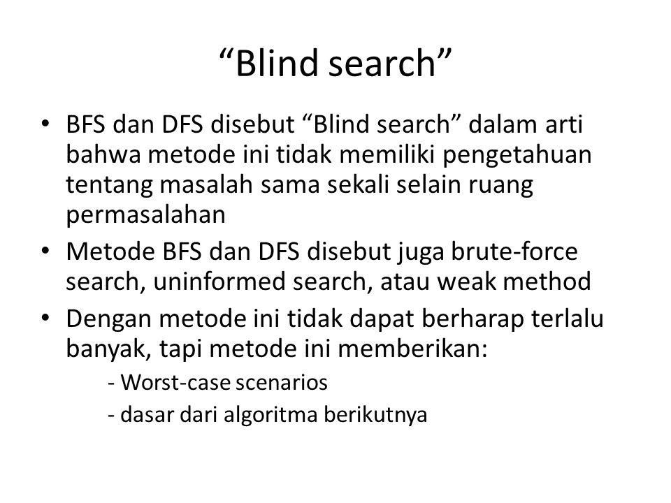 """""""Blind search"""" BFS dan DFS disebut """"Blind search"""" dalam arti bahwa metode ini tidak memiliki pengetahuan tentang masalah sama sekali selain ruang perm"""