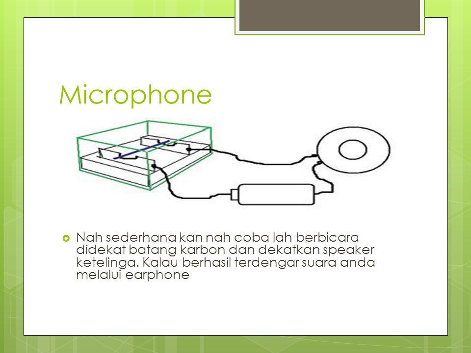 Prinsip Kerja  Ketika kita berbicara, perubahan tekanan udara akibat suara kita akan mengkibatkan sedikit perubahan sedikit pulapada batang karbon yang akan mengakibatkan sedikit perubahan resistensinya, sehingga arus yang mengalir ke mengkibatkan speaker juga berubah seirama dengan suara; maka suara kita telah disalurkan speaker melalui arus listrik.