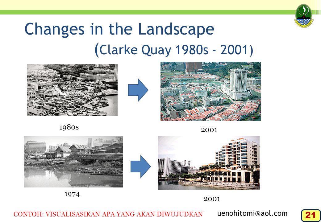 Changes in the Landscape ( Clarke Quay 1980s - 2001) 1980s 2001 1974 2001 uenohitomi@aol.com CONTOH: VISUALISASIKAN APA YANG AKAN DIWUJUDKAN 21