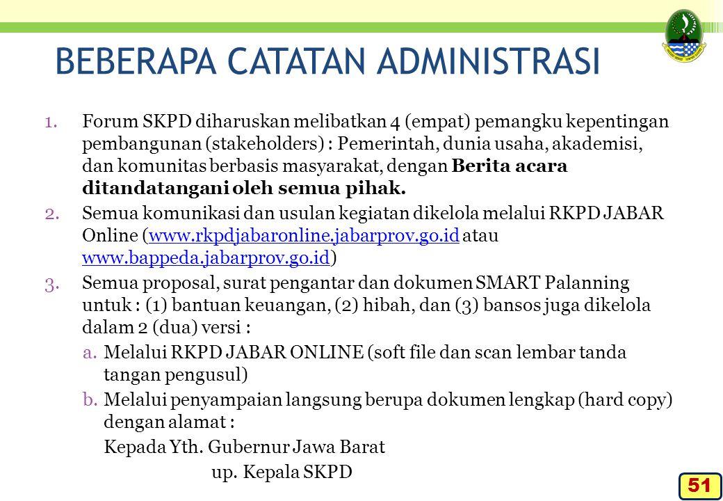 BEBERAPA CATATAN ADMINISTRASI 1.Forum SKPD diharuskan melibatkan 4 (empat) pemangku kepentingan pembangunan (stakeholders) : Pemerintah, dunia usaha,