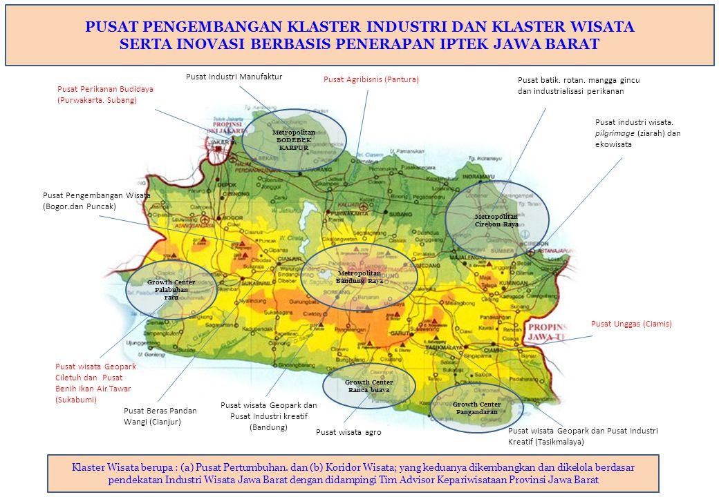 Metropolitan Cirebon Raya Metropolitan Bandung Raya Metropolitan BODEBEK KARPUR Growth Center Palabuhan ratu Growth Center Pangandaran Pusat wisata Ge
