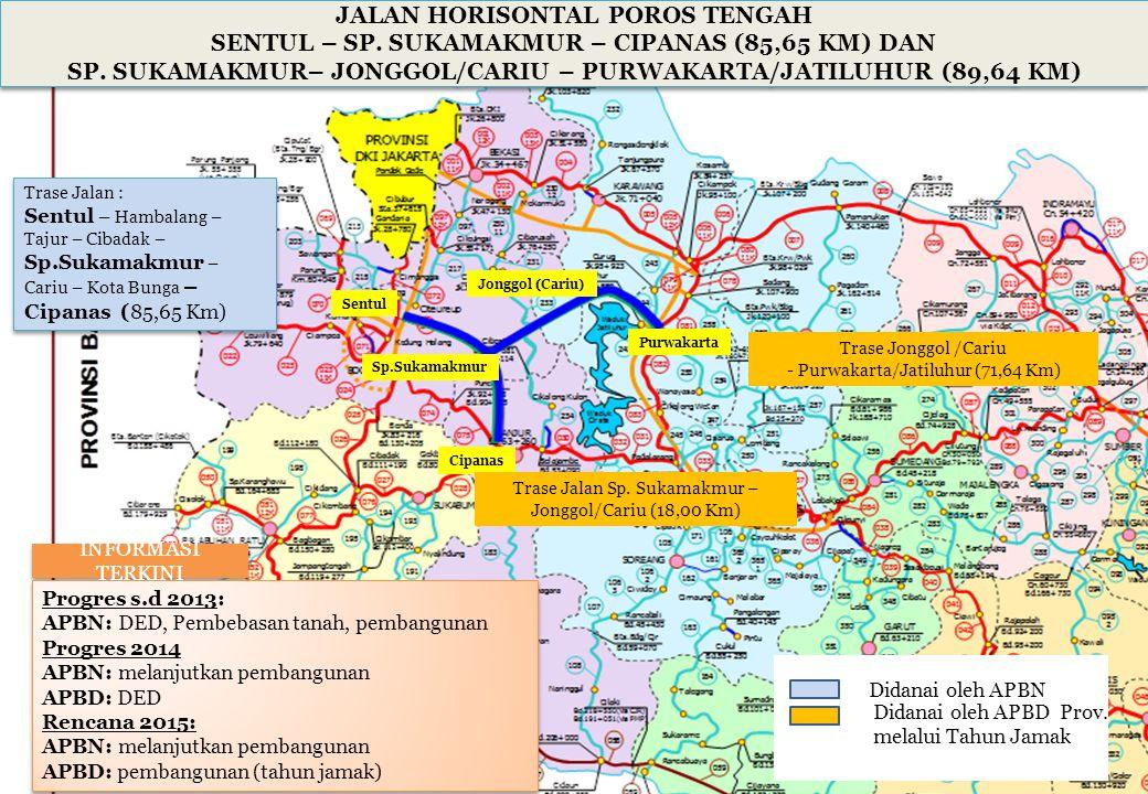 Trase Jonggol /Cariu - Purwakarta/Jatiluhur (71,64 Km) JALAN HORISONTAL POROS TENGAH SENTUL – SP. SUKAMAKMUR – CIPANAS (85,65 KM) DAN SP. SUKAMAKMUR–