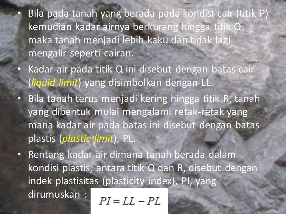 Bila pada tanah yang berada pada kondisi cair (titik P) kemudian kadar airnya berkurang hingga titik Q, maka tanah menjadi lebih kaku dan tidak lagi m