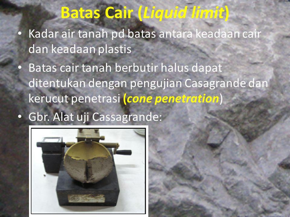 Batas Cair (Liquid limit) Kadar air tanah pd batas antara keadaan cair dan keadaan plastis Batas cair tanah berbutir halus dapat ditentukan dengan pen