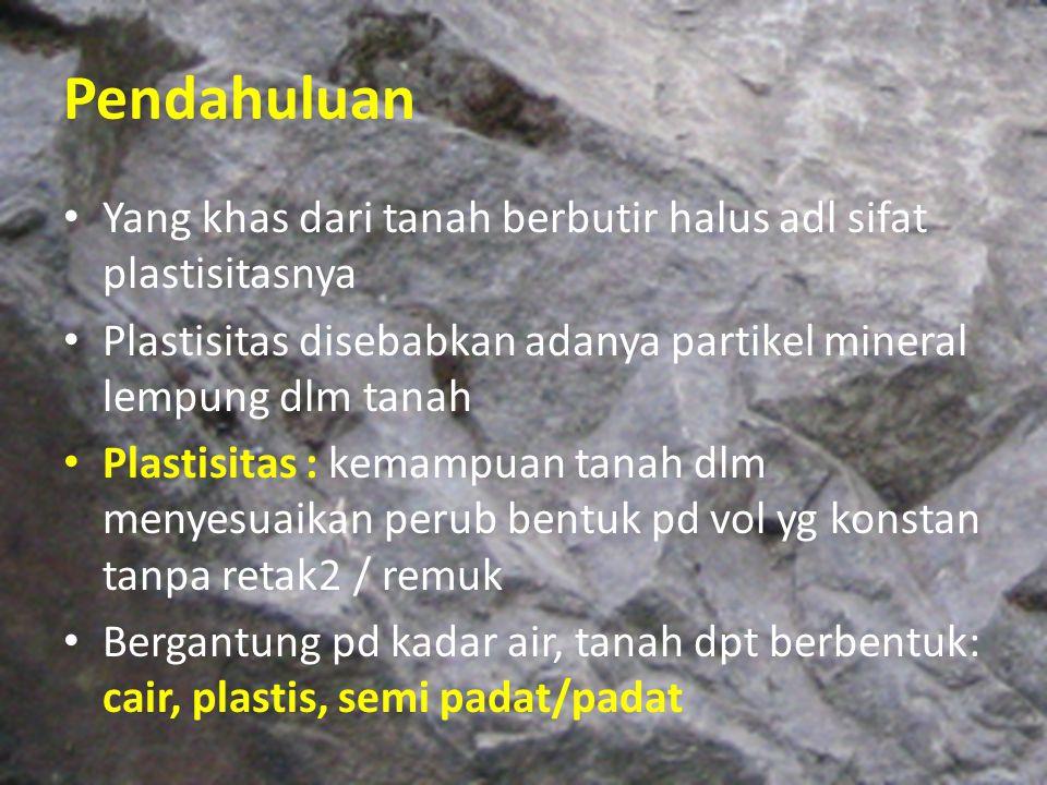 Pendahuluan Yang khas dari tanah berbutir halus adl sifat plastisitasnya Plastisitas disebabkan adanya partikel mineral lempung dlm tanah Plastisitas