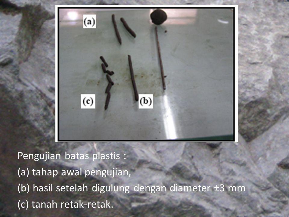 Pengujian batas plastis : (a) tahap awal pengujian, (b) hasil setelah digulung dengan diameter ±3 mm (c) tanah retak-retak.