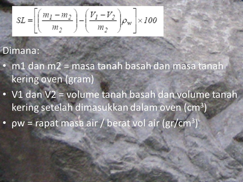 Dimana: m1 dan m2 = masa tanah basah dan masa tanah kering oven (gram) V1 dan V2 = volume tanah basah dan volume tanah kering setelah dimasukkan dalam