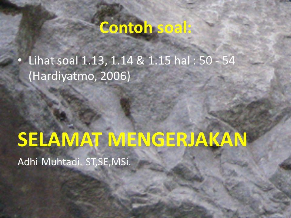 Contoh soal: Lihat soal 1.13, 1.14 & 1.15 hal : 50 - 54 (Hardiyatmo, 2006) SELAMAT MENGERJAKAN Adhi Muhtadi. ST,SE,MSi.