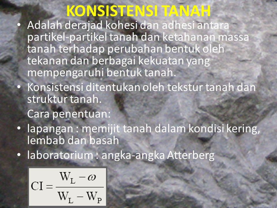 KONSISTENSI TANAH Adalah derajad kohesi dan adhesi antara partikel-partikel tanah dan ketahanan massa tanah terhadap perubahan bentuk oleh tekanan dan