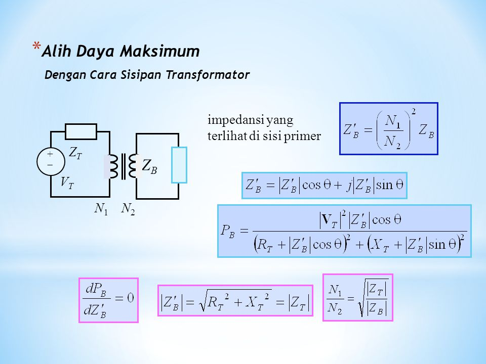 * Alih Daya Maksimum Dengan Cara Sisipan Transformator impedansi yang terlihat di sisi primer ZB ZB ++ ZTZT VTVT N 1 N 2