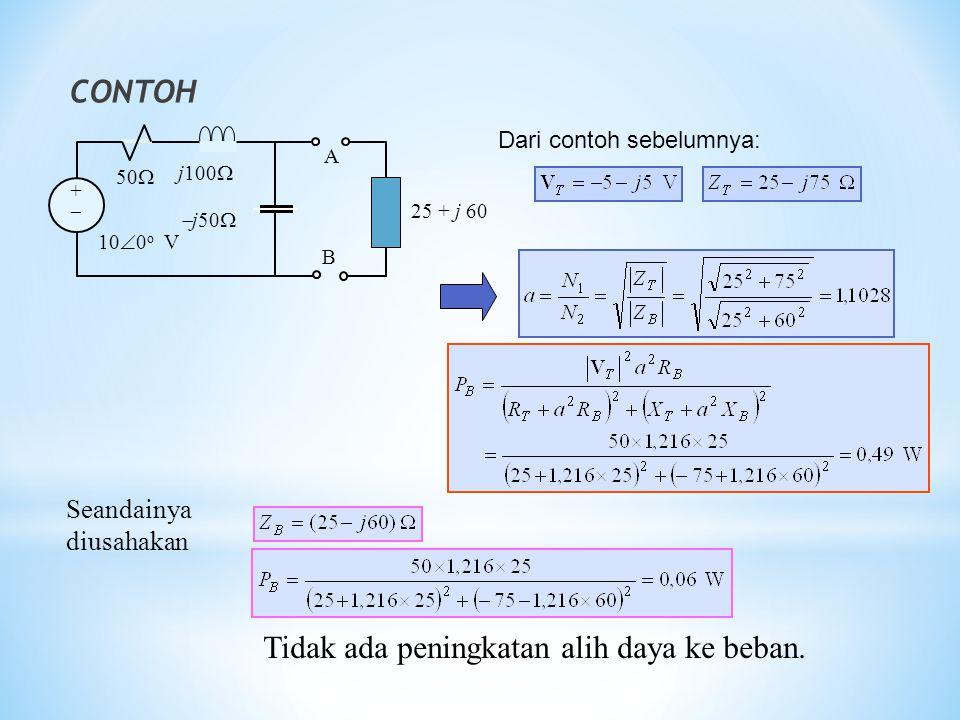 CONTOH ++ 50  j100   j50  A B 10  0 o V 25 + j 60 Seandainya diusahakan Tidak ada peningkatan alih daya ke beban. Dari contoh sebelumnya: