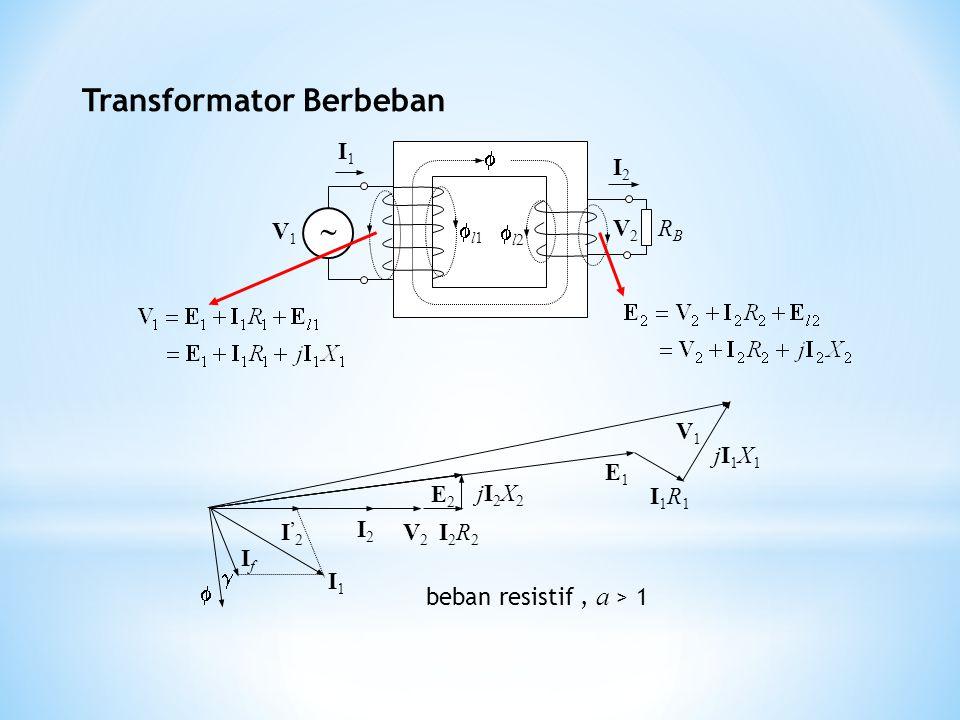 Transformator Berbeban   V2V2 I2I2 I'2I'2 IfIf I1I1 I2R2I2R2 jI2X2 jI2X2 E2E2 E1E1 I1R1I1R1 jI1X1 jI1X1 V1V1 beban resistif, a > 1  V1V1 l1 l1 I1