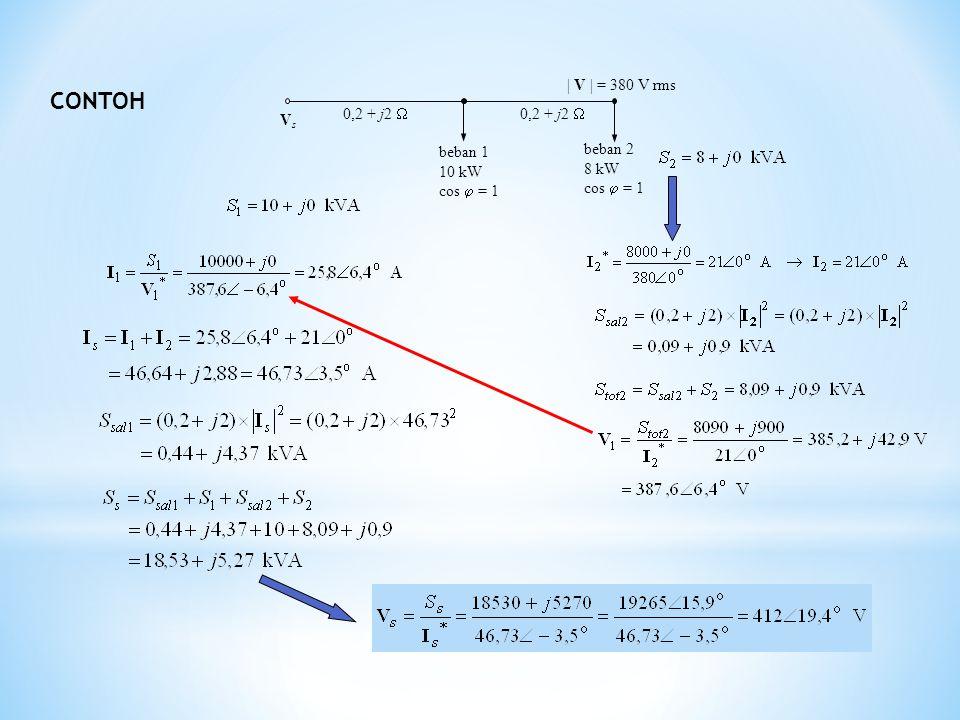 CONTOH beban 1 10 kW cos  = 1 beban 2 8 kW cos  = 1 0,2 + j2  VsVs | V | = 380 V rms