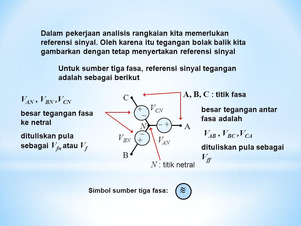 B A C N V AN V BN V CN  + +  + + Dalam pekerjaan analisis rangkaian kita memerlukan referensi sinyal. Oleh karena itu tegangan bolak balik kita ga