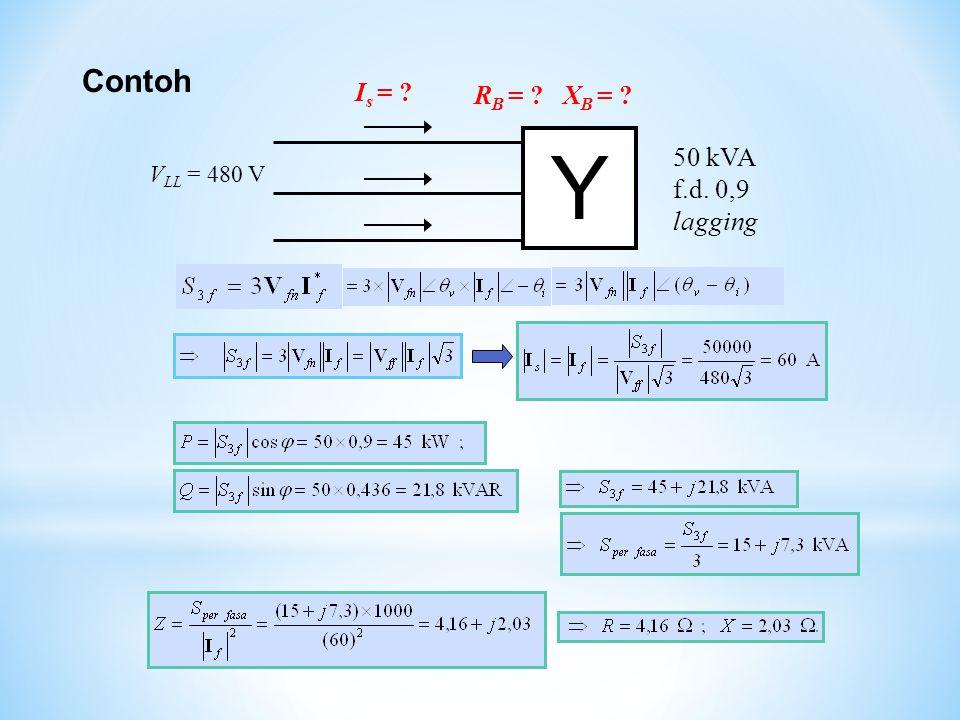 Contoh Y 50 kVA f.d. 0,9 lagging V LL = 480 V I s = ? R B = ? X B = ?