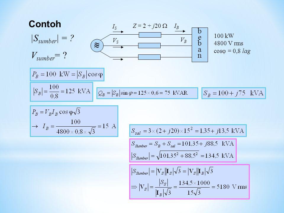 Contoh bebanbeban VSVS VBVB Z = 2 + j20    ISIS IBIB 100 kW 4800 V rms cos  = 0,8 lag |S sumber | = ? V sumber = ?