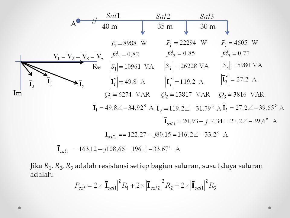 40 m 35 m 30 m A // Re Im Jika R 1, R 2, R 3 adalah resistansi setiap bagian saluran, susut daya saluran adalah: