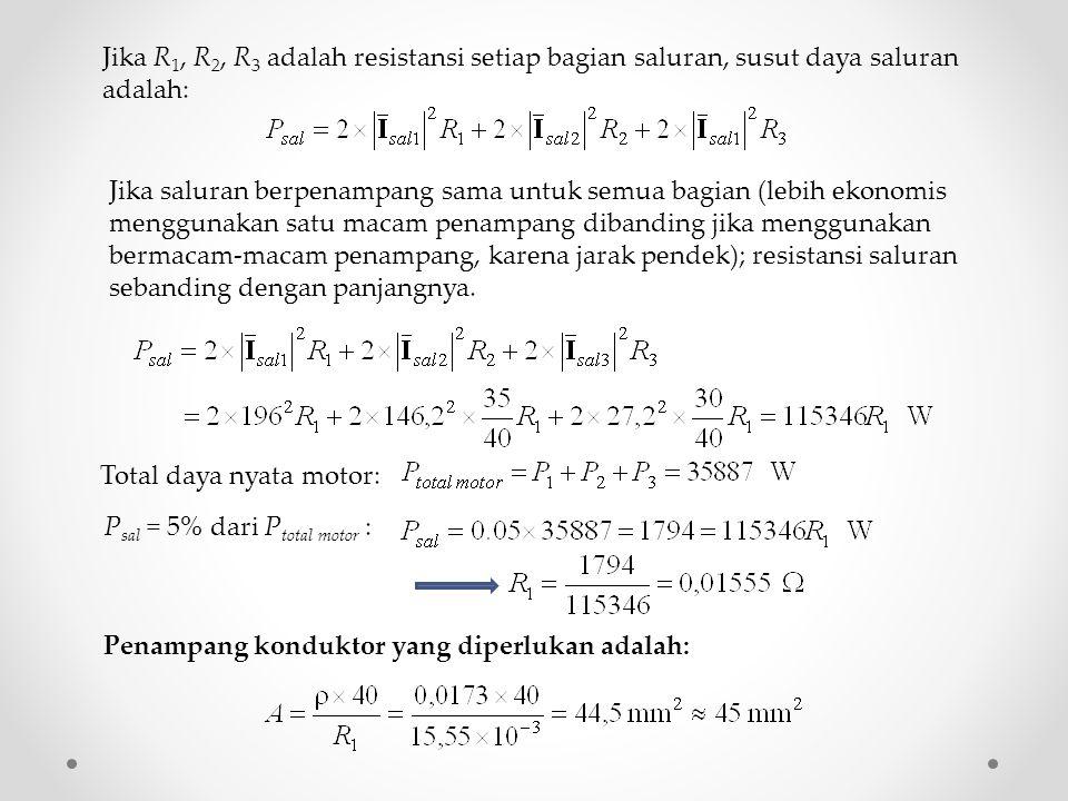 Jika saluran berpenampang sama untuk semua bagian (lebih ekonomis menggunakan satu macam penampang dibanding jika menggunakan bermacam-macam penampang, karena jarak pendek); resistansi saluran sebanding dengan panjangnya.