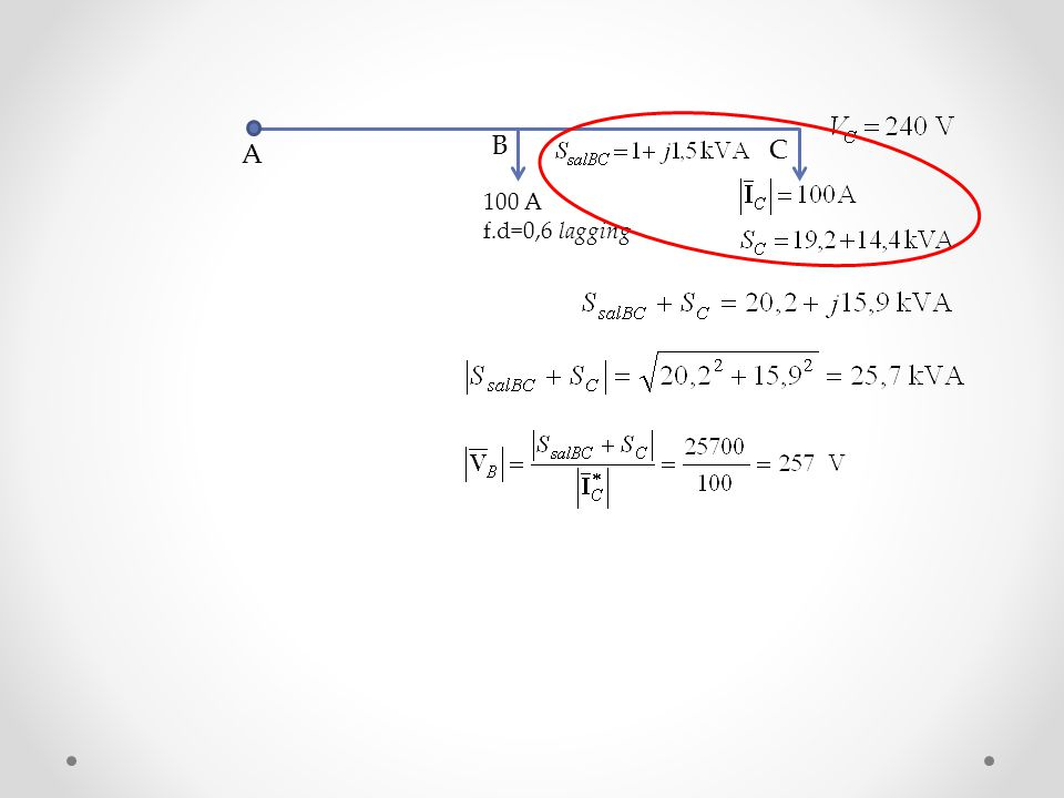 100 A f.d=0,6 lagging A B C