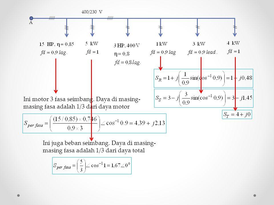 A //// /// // //// // 400/230 V /// // Ini motor 3 fasa seimbang. Daya di masing- masing fasa adalah 1/3 dari daya motor Ini juga beban seimbang. Daya