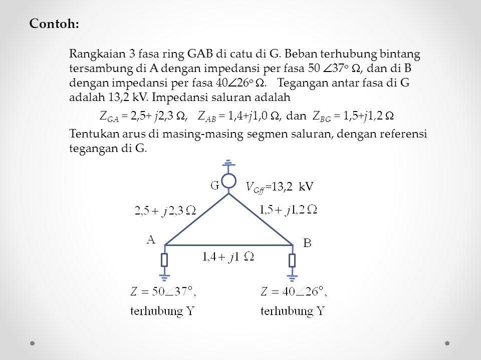 Contoh: Rangkaian 3 fasa ring GAB di catu di G. Beban terhubung bintang tersambung di A dengan impedansi per fasa 50  37 o , dan di B dengan impedan