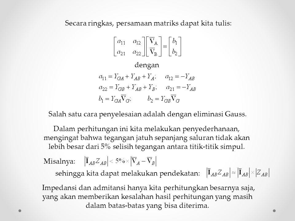 dengan Secara ringkas, persamaan matriks dapat kita tulis: Salah satu cara penyelesaian adalah dengan eliminasi Gauss. Dalam perhitungan ini kita mela