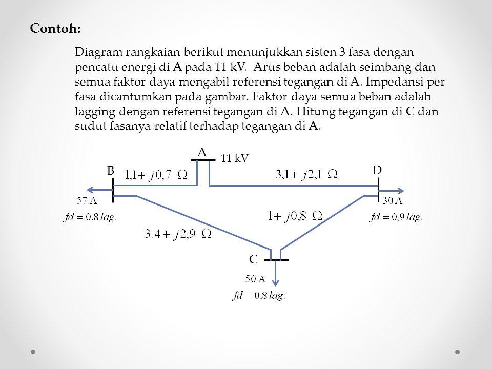 Contoh: Diagram rangkaian berikut menunjukkan sisten 3 fasa dengan pencatu energi di A pada 11 kV. Arus beban adalah seimbang dan semua faktor daya me