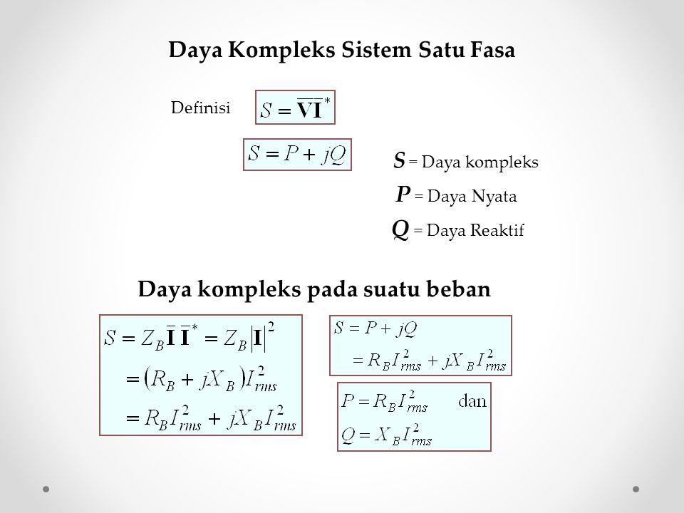 Faktor Daya dan Segitiga Daya (lagging) Re Im  jQ P Re Im  Faktor daya lagging  jQ P Re Im  Faktor daya leading V (leading) Re Im  Hubungan segitiga