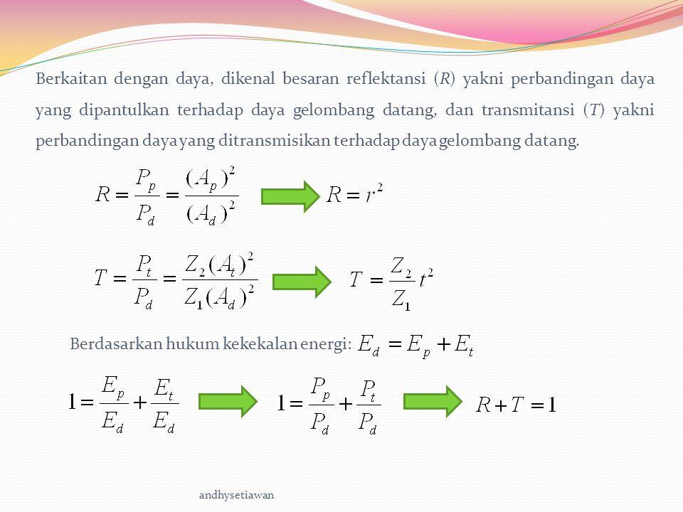 Berdasarkan hukum kekekalan energi: andhysetiawan Berkaitan dengan daya, dikenal besaran reflektansi (R) yakni perbandingan daya yang dipantulkan terhadap daya gelombang datang, dan transmitansi (T) yakni perbandingan daya yang ditransmisikan terhadap daya gelombang datang.