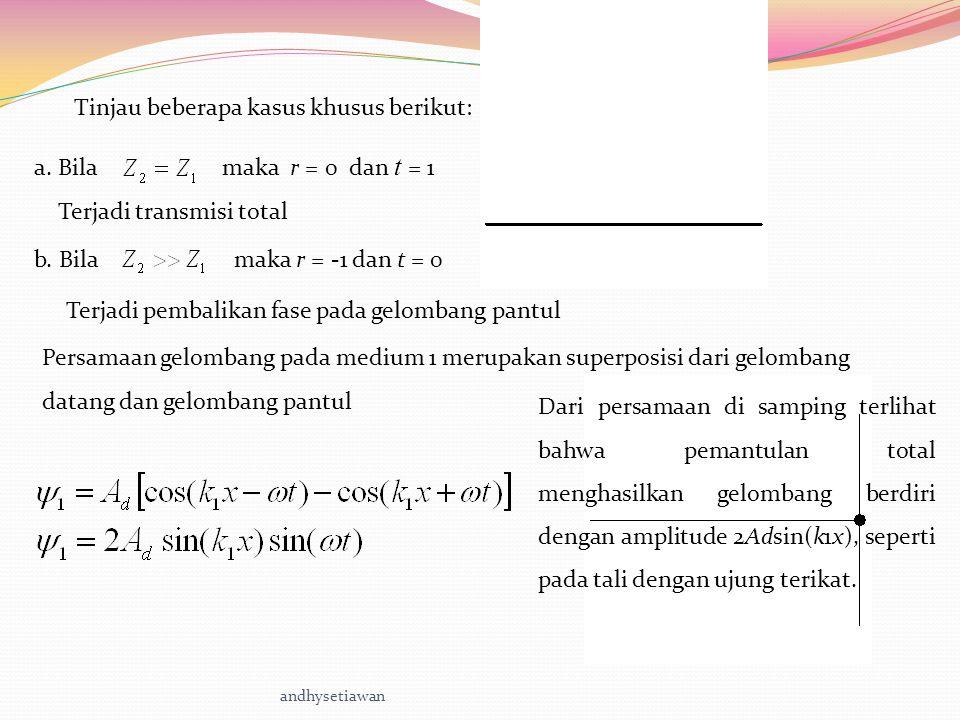 Dari persamaan di samping terlihat bahwa pemantulan total menghasilkan gelombang berdiri dengan amplitude 2Adsin(k1x), seperti pada tali dengan ujung terikat.