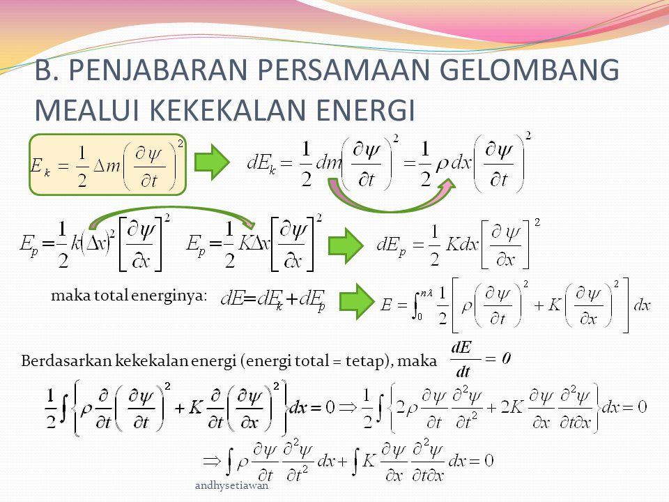 B. PENJABARAN PERSAMAAN GELOMBANG MEALUI KEKEKALAN ENERGI maka total energinya : Berdasarkan kekekalan energi (energi total = tetap), maka andhysetiaw